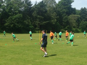 England U20 Manager Aidy Boothroyd coaching South Central U13 players before their trip to Gothia Cup